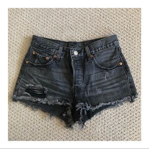 Levis 501 Shorts Washed Black